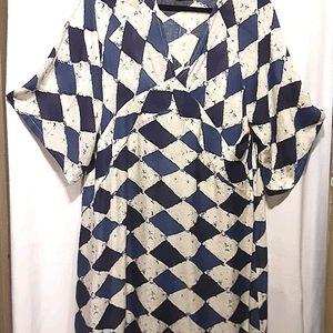 Harlequin Blue / Cream Cotton Dress - XL